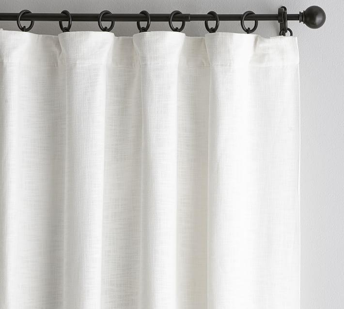 """Seaton Textured Drape, 50 x 84"""", White, Cotton Lining"""