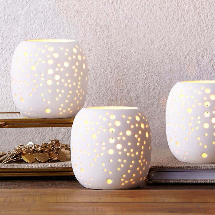 Constellation Porcelain Hurricane, Tealight , White Porcelain