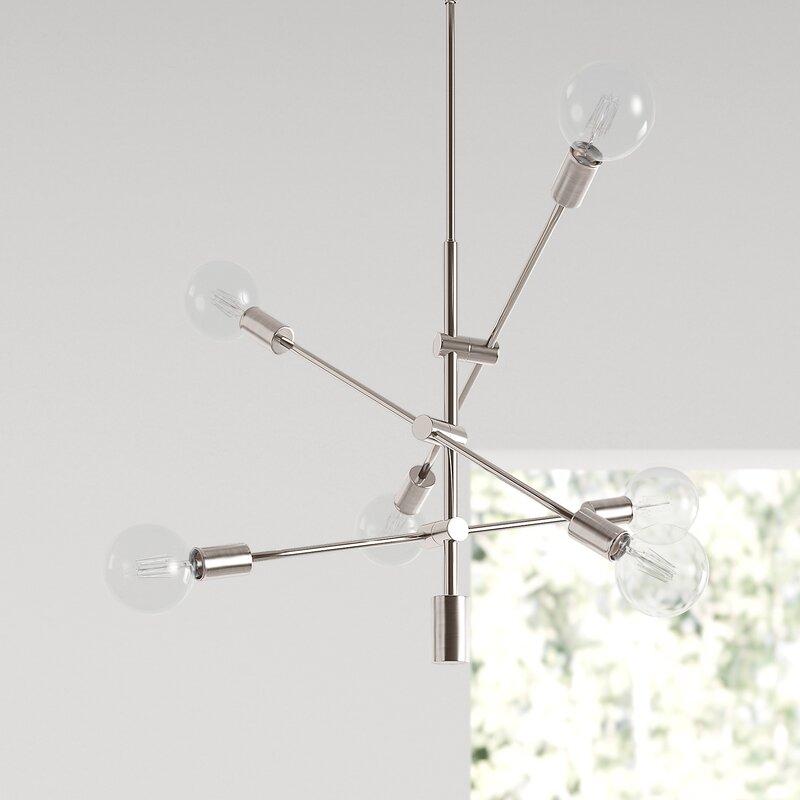 Hannah 6 - Light Sputnik Modern Linear Chandelier