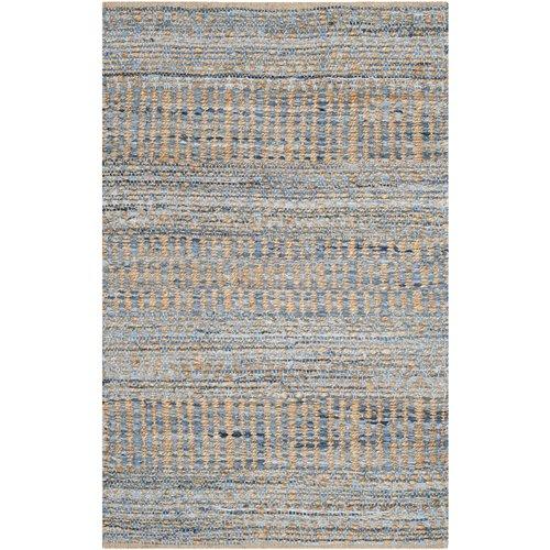 Bernd Striped Handmade Flatweave Jute/Sisal Natural/Blue/Orange Area Rug