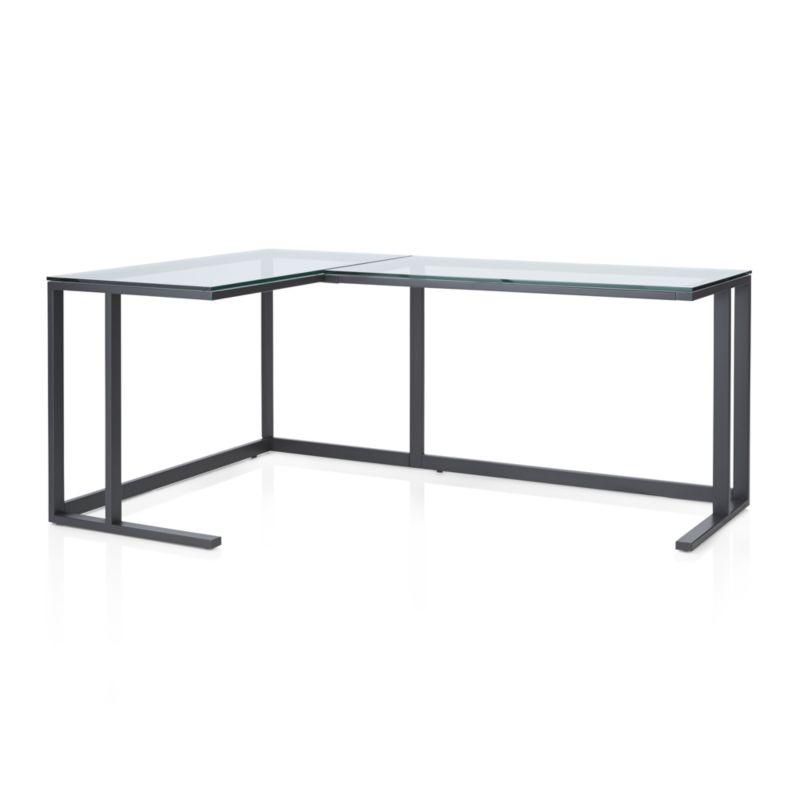 Pilsen Graphite Corner Desk - GLASS TOP
