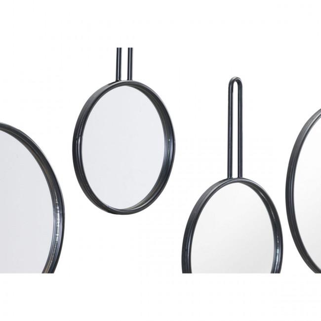 Set Of 4 Round Mirrors Black