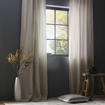 "Belgian Flax Linen Curtain, Set of 2, Natural, 48""x84"" Unlined"