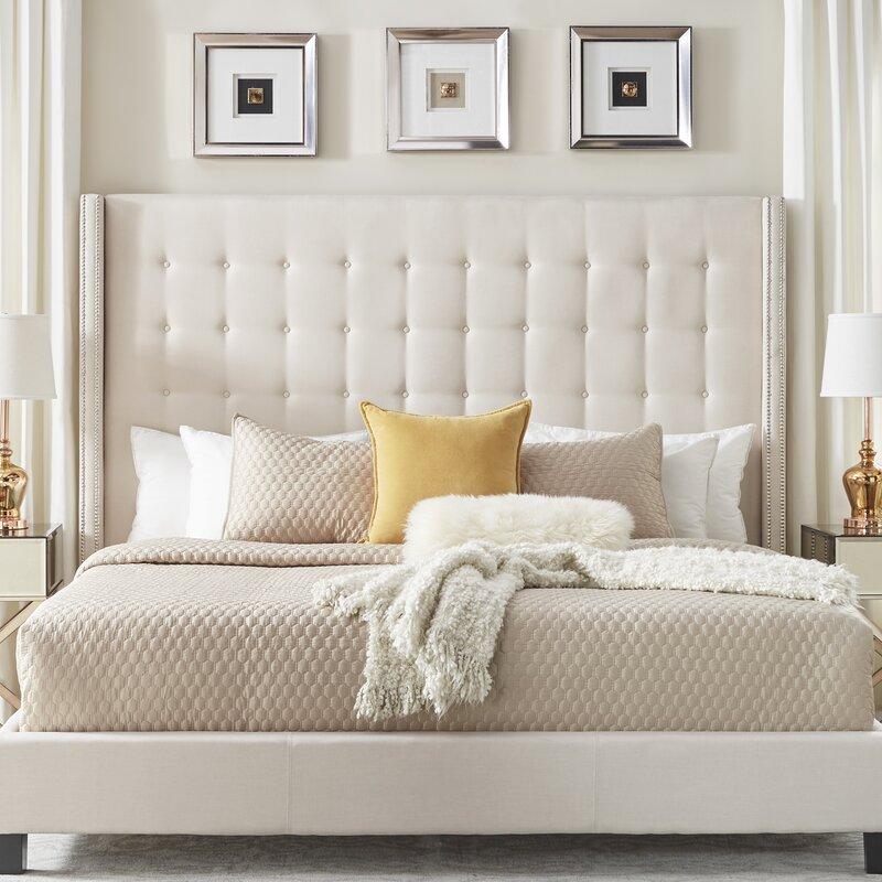 Neher Tufted Upholstered Low Profile Platform Bed / Soft Beige