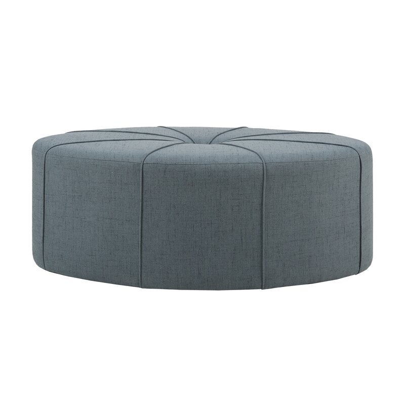 Telly Oval Tufted Cocktail Ottoman, Blue