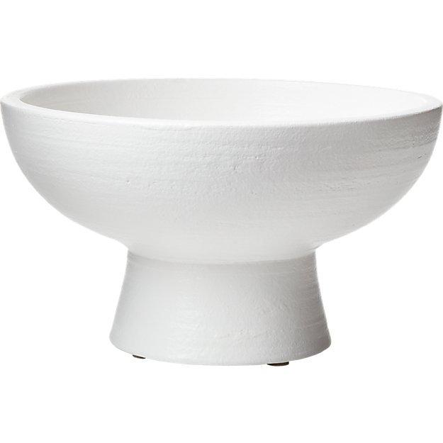 """white pedestal bowl - 7""""H"""