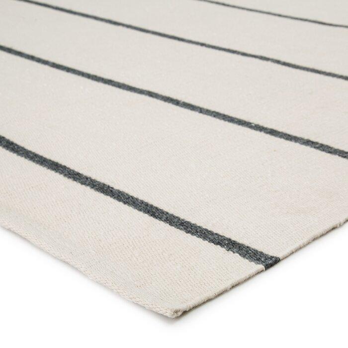 Hadden Striped Handmade Flatweave Ivory/Dark Gray Indoor / Outdoor Area Rug