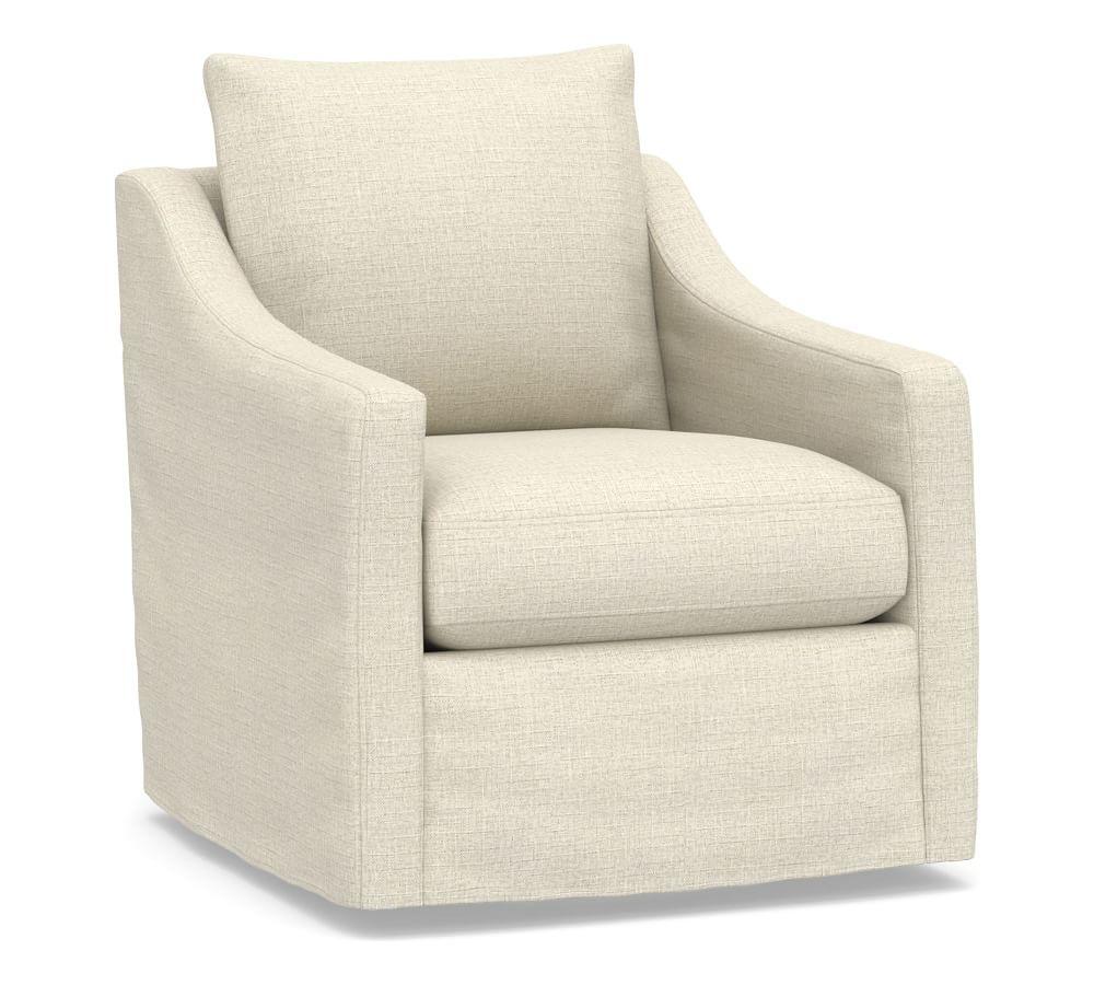Ayden Slope Arm Slipcovered Swivel Glider, Polyester Wrapped Cushions, Basketweave Slub Oatmeal