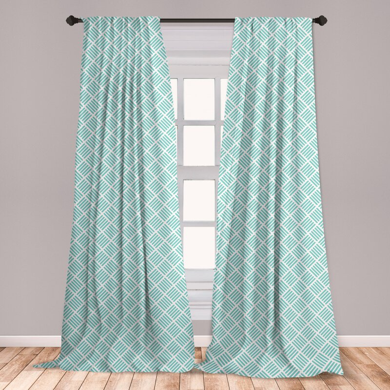 Ambesonne Aqua Window Curtains Diagonal Parallel Lines In Different Directions Retro Modern Style Geometrical Lightweight Decorative Panels Set Of 2 With Rod Pocket 28 X 95 Mint Green White Set Of 2 Wayfair