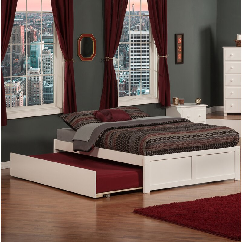 Rola Queen Solid Wood Platform Bed w/ Twin Trundle