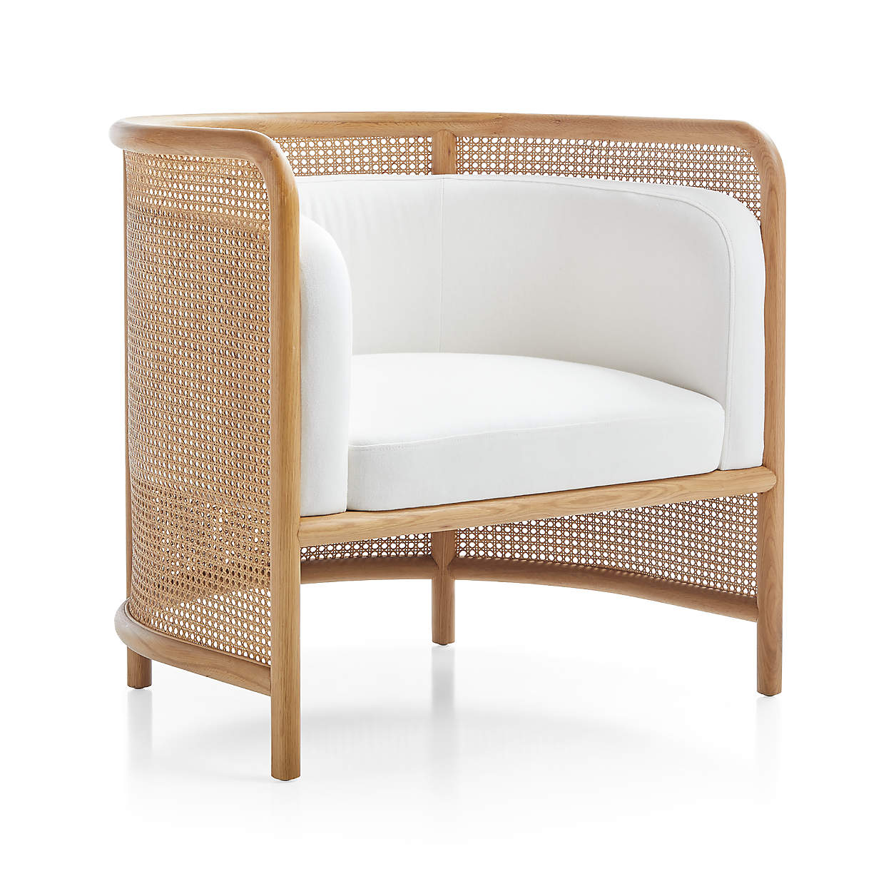 Fields Cane Back White Accent Chair