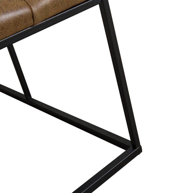 Light Brown Faux Leather Thrapst Upholstered Bench