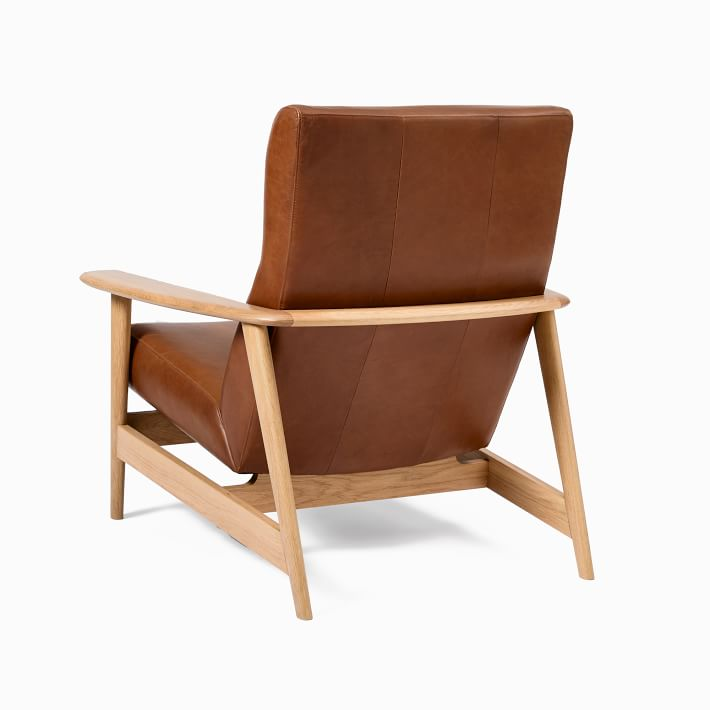Mid-century Show Wood Highback Chair, Saddle Leather, Nut, Natural Oak