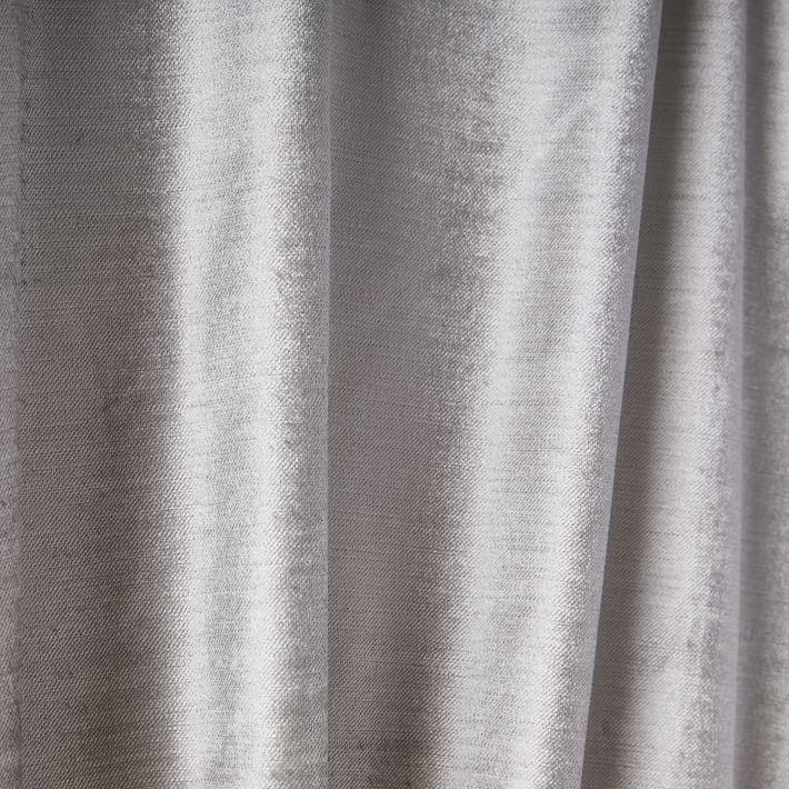 """Cotton Luster Velvet Curtain, Set of 2, Platinum, 48""""x96"""""""