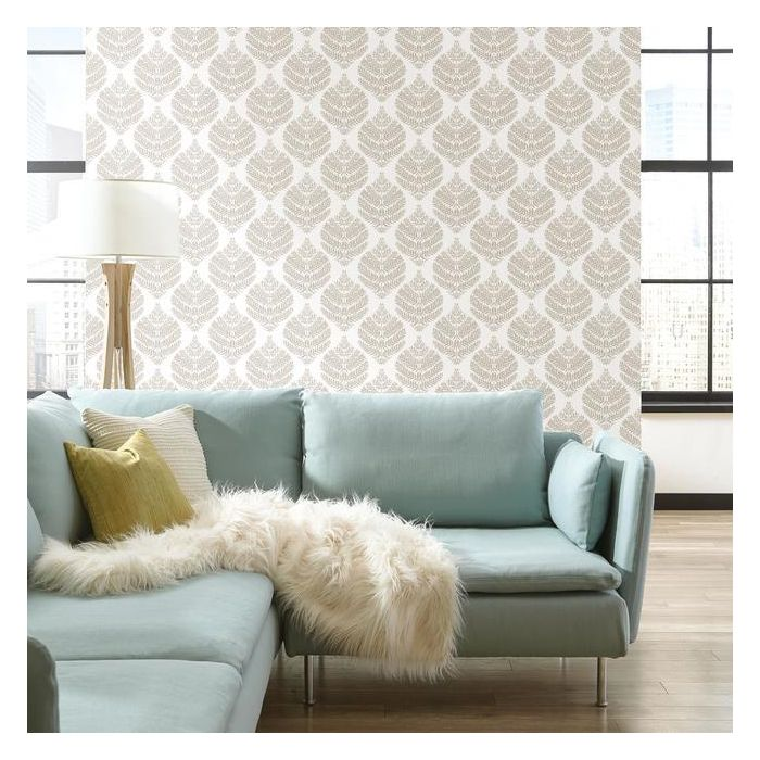 Hygge Fern Damask Peel and Stick Wallpaper, Taupe