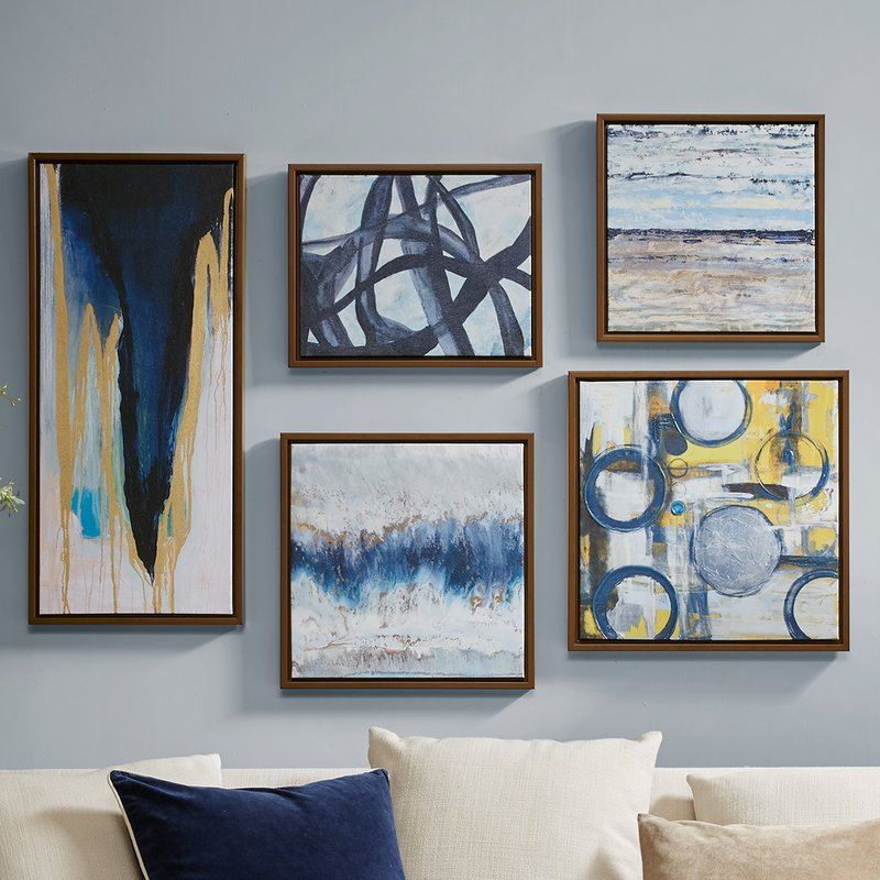 'Blue Bliss' 5 Piece Framed Graphic Art Print Set on Wood