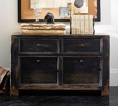 Dawson Wood 2-Drawer File Cabinet, Weathered Black finish