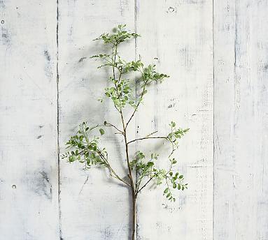 Faux Green Petal Leaf Branch