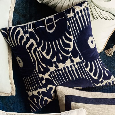 "Velvet Ikat Applique Pillow, 20"" X 20"", Navy"
