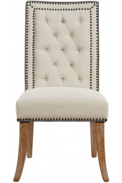 George Beige Linen Dining Chair (Set of 2)