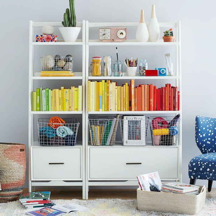 Mid-Century Bookshelf, Wide Tower, White