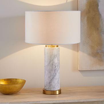 Pillar Table Lamp + USB, Marble-Individual