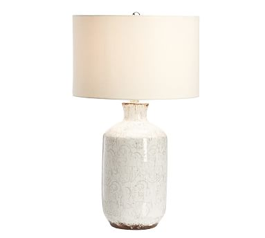 Jamie Young Bethany Ceramic Bedside Lamp, Ivory with Moss Green