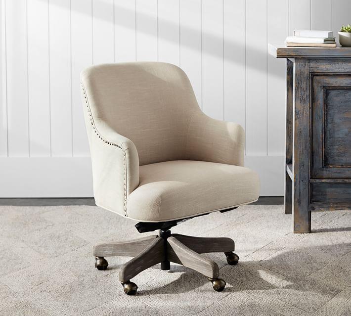 Reeves Upholstered Swivel Desk Chair, Gray Wash Frame, Linen Blend Oatmeal