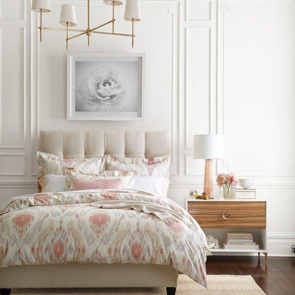 Pleated Velvet Lumbar Pillow Cover, Blush