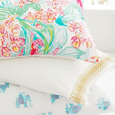 Lilly Pulitzer Organic Embroidered Trim Sheet Set, Twin/Twin XL, Gold