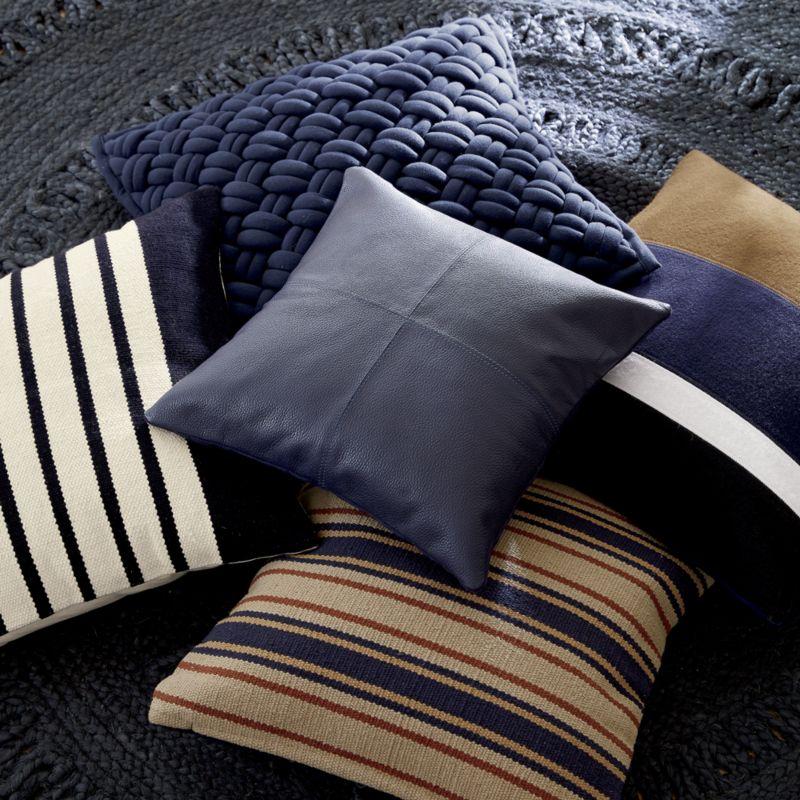 "20"" jersey interknit navy pillow with down-alternative insert"