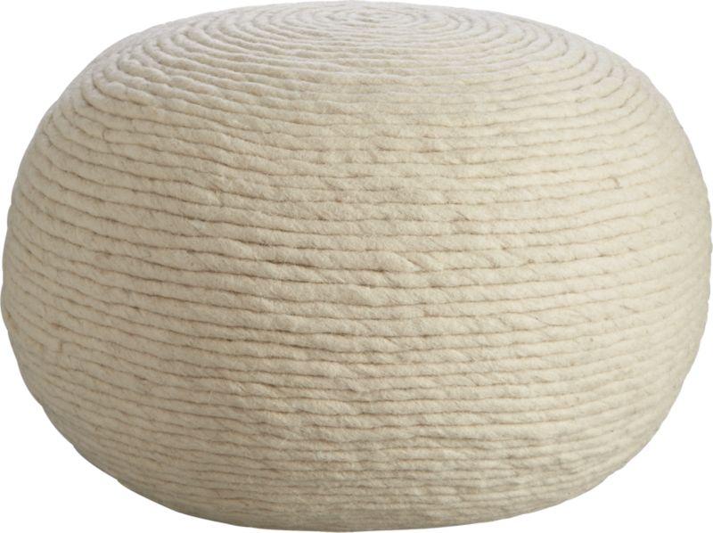 wool wrap natural pouf