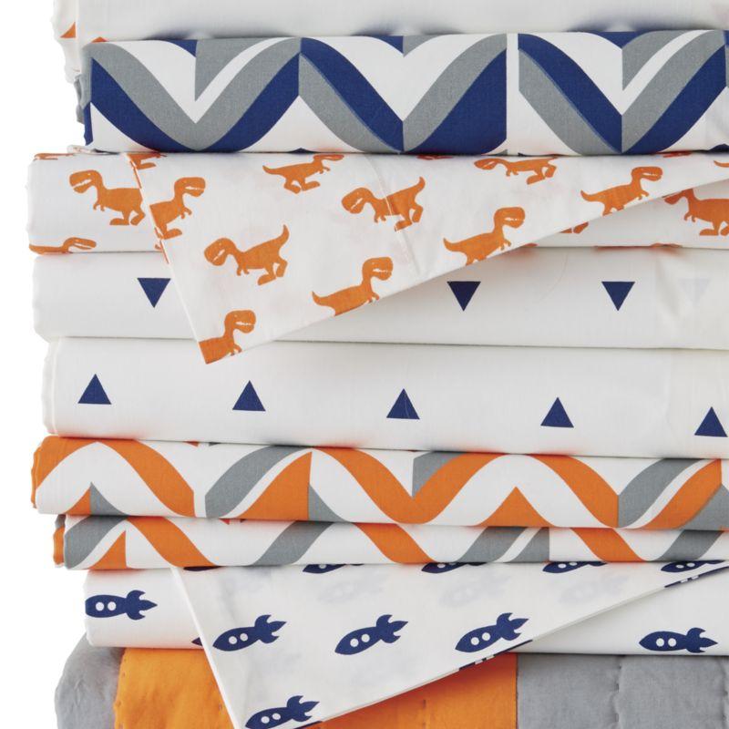 Organic Little Prints Blue Rocket Twin Sheet Set