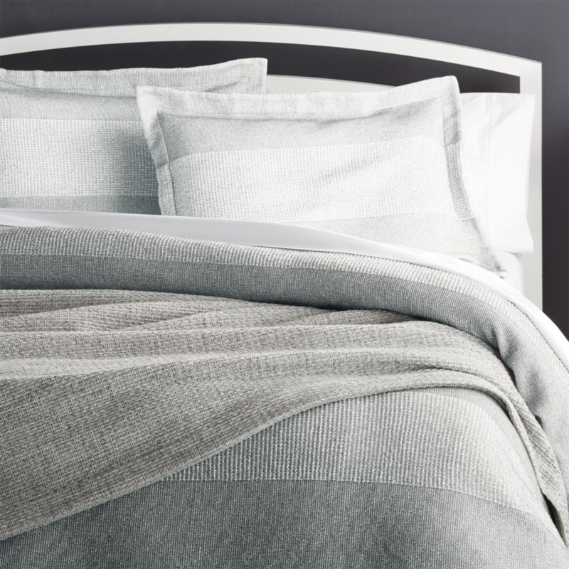 Kiyomi King Grey Striped Duvet Cover