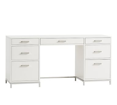 """Ava 63.5"""" Desk With Drawers, Sky White"""