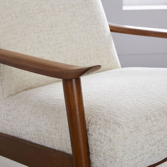 Mid-Century Show Wood Upholstered Chair, Chunky Basketweave, Stone