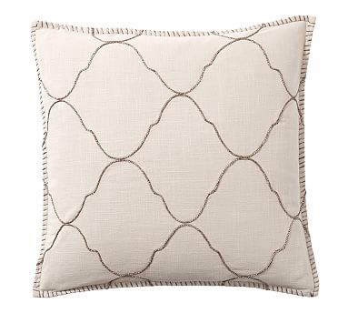 """Tile Embroidered Pillow Cover, 22"""", Khaki/Gold"""