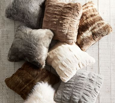 "Faux Fur Pillow Cover, 18"", Gray Ombre"