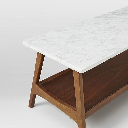 Reeve Mid-Century Coffee Table Rectangle , Marble/Walnut