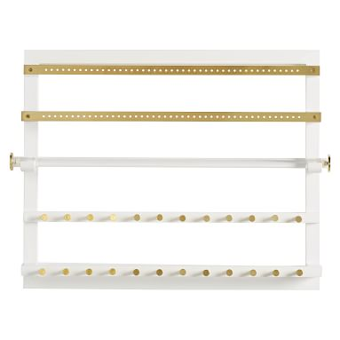 Elle Lacquer Wall Jewelry Organizer, Gray/Gold