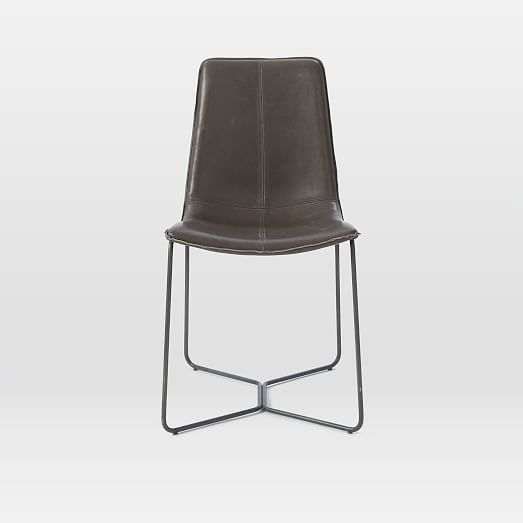 Slope Leather Dining Chair, Leather, Charcoal, Charcoal Leg-Individual