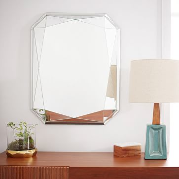 Faceted Wall Mirror, Emerald Cut