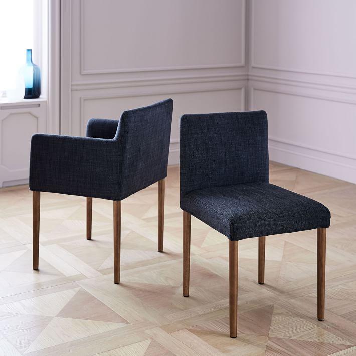 Ellis Upholstered Side Chair, Yarn Dyed Linen Weave, Indigo