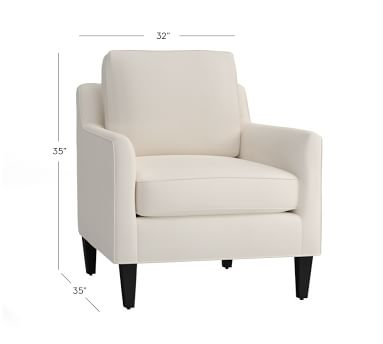 Beverly Upholstered Armchair, Polyester Wrapped Cushions, Performance Twill Warm White