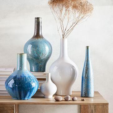 "Reactive Glaze Vase, Light Blue, Large, 19"""