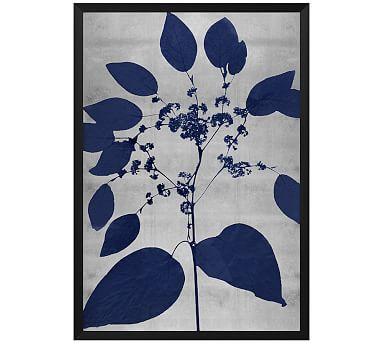 """Indigo Silver Leaf 3 Framed Print, 20 x 28"""""""