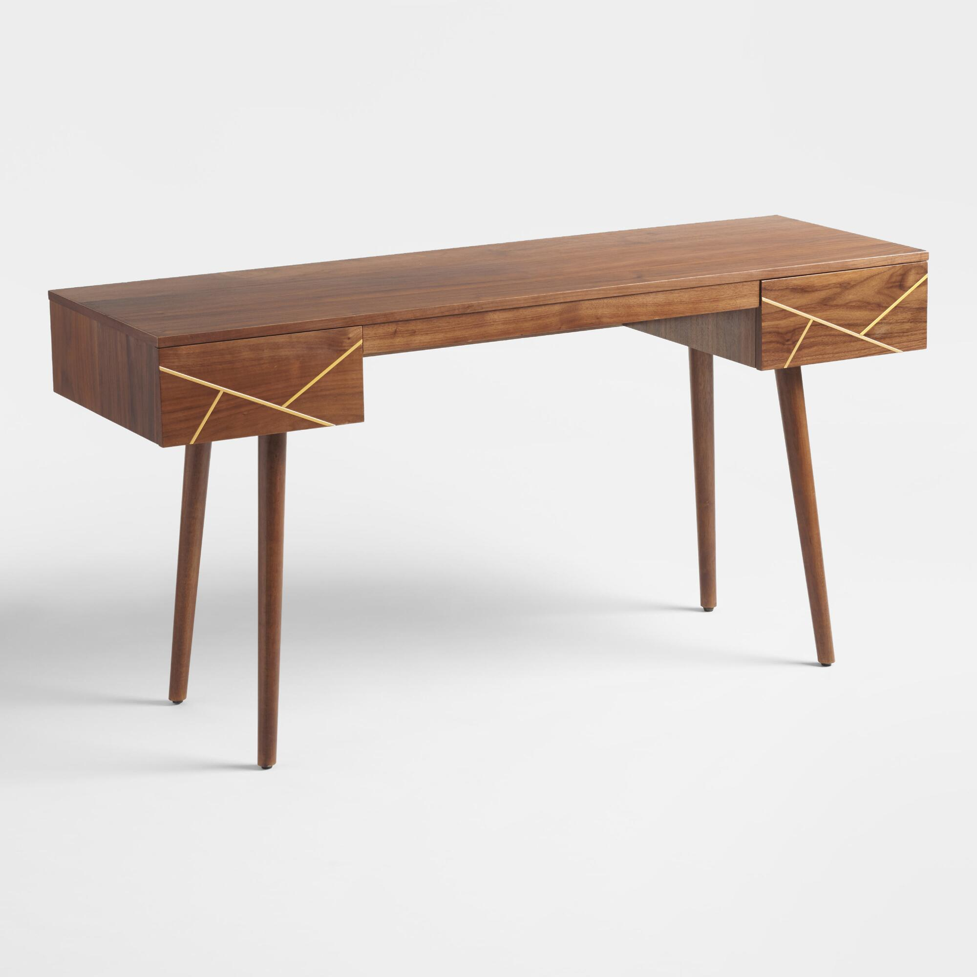 Wood And Metal Inlay Dustin Desk By World Market World Market Cost Plus