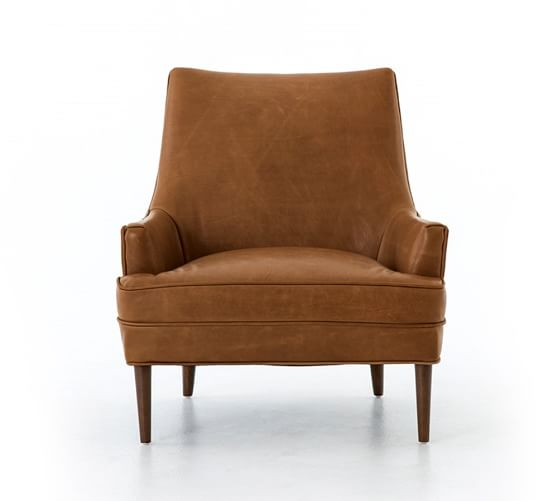 Reyes Leather Armchair, Polyester Wrapped Cushions, Signature Maple