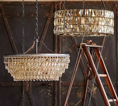 Adeline Faceted Crystal Round Chandelier, Bronze finish