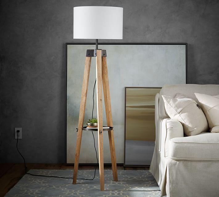 Miles Tripod Floor Lamp, Honey/Bronze
